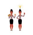 black african american businesswoman eats vector image
