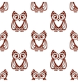 Cartoon brown owl seamless pattern vector image vector image
