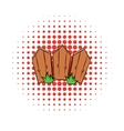Wooden fence comics icon vector image