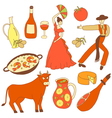 colored spanish icons vector image