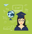 Girl in the academic cap globe and hand drawn vector image