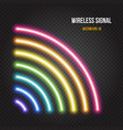 glowing neon lights wireless signal symbol in vector image