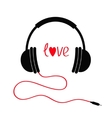 Headphones with cord Love card Red text heart vector image