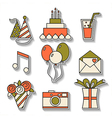 Holiday flat icons happy birthday set vector image