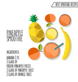 pineapple smoothie recipe hand drawn in f vector image