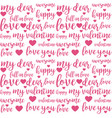 seamless pattern with love lettering quotes vector image