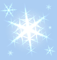 Shining snowflakes on blue vector image