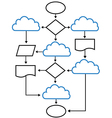 Cloud flowchart charts vector image