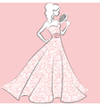 bride in lace wedding dress vector image vector image