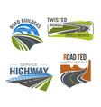 road highway freeway and mountain pass icon set vector image vector image