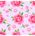 Pink roses pearls seamless background vector image