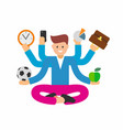 busy man with multi tasking vector image