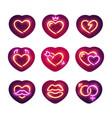 glowing neon valentine hearts sticker pack vector image