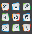 set of simple salon icons vector image