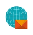 earth globe diagram and envelope icon vector image