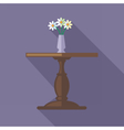 Digital flowers in vase on a wooden table vector image