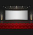Interior of a cinema movie theatre Red cinema or vector image