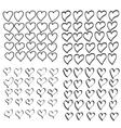 hand drawn heart set vector image