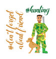 Hunter with dog going to hunting- flat clipart vector image