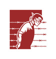 Prisoner blindfolded and hands tied vector image vector image
