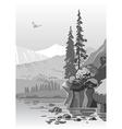 Beautiful grayscale mountain landscape vector image