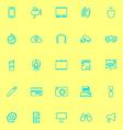 Gadget line icons blue color vector image