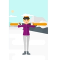 Woman holding skis vector image vector image