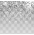 Falling Shining Snowflakes and Snow on Transparent vector image