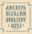 hand drawn alphabet with doodle letters vector image