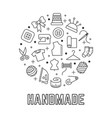handmade round logo design with taylor sewing vector image