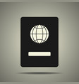 passport icon in black and white colors vector image