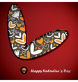 valentine day card with flowers and hearts vector image