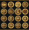 Premium quality gold and brown labels collection vector image vector image