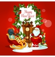 Holiday greeting card with Santa and gift vector image vector image