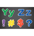 Two letters and four different symbols vector image vector image