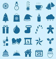 Winter color icons on blue background vector image