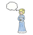 cartoon shocked victorian woman with thought vector image
