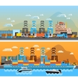 Two Freight Port Horizontal Banners vector image