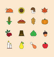 autumn icons set thanksgiving day autumn vector image