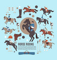 horse riding flat composition vector image