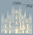 milan cathedral in italy on blue background vector image