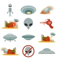 Set of alien invasion vector image