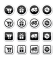 Shopping on internet black icons set with shadow vector image