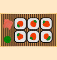 traditional japanese dinner meal rice roll sushi vector image