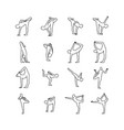 yoga poses set outline sketch hand vector image