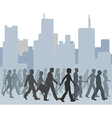 Crowd of people walking city skyline vector image vector image