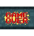Pixel red game over screen on yellow background vector image