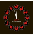 Rooster clock symbol of 2017 new year vector image vector image