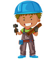 Carpenter with hammer and wood vector image vector image