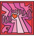 Valentine woodcut hands vector image
